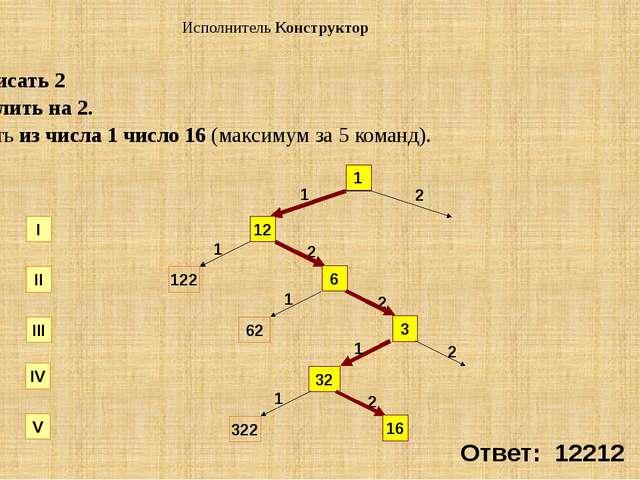 СКИ: 1. приписать 2 2. разделить на 2. Получить из числа 1 число 16 (максимум...
