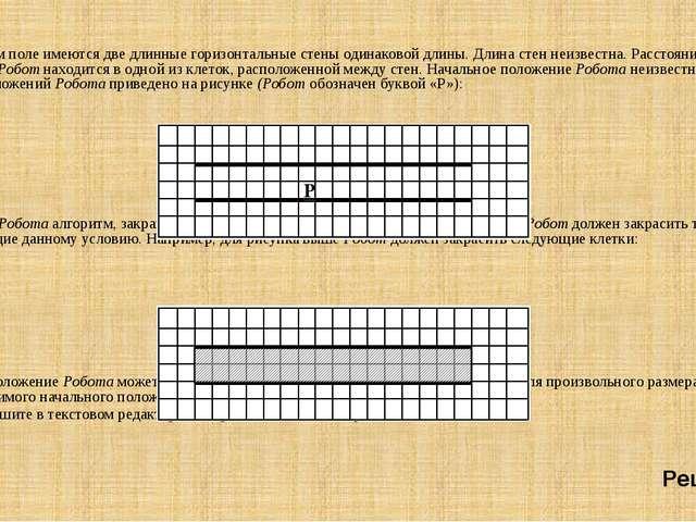 Задание : На бесконечном поле имеются две длинные горизонтальные стены одинак...
