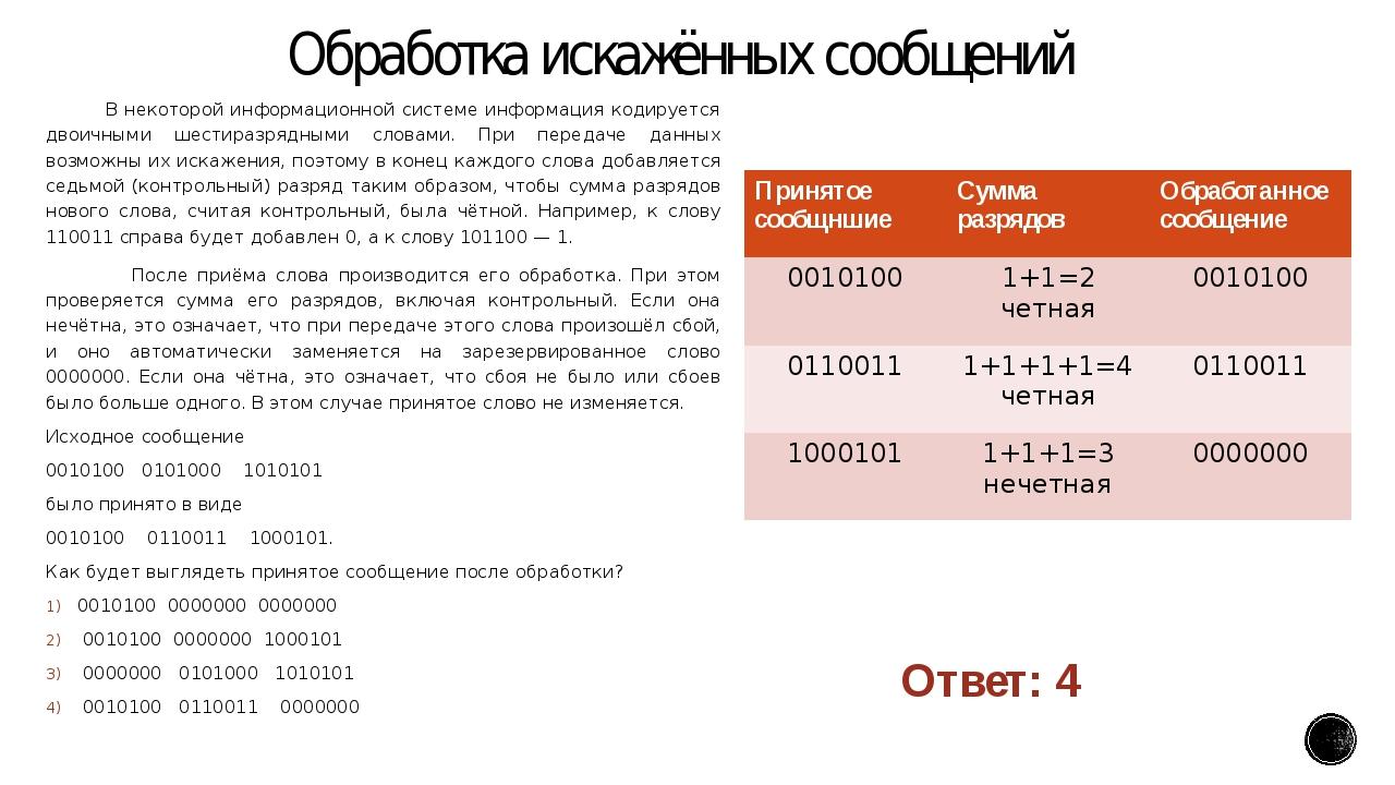 Обработка искажённых сообщений В некоторой информационной системе информация...