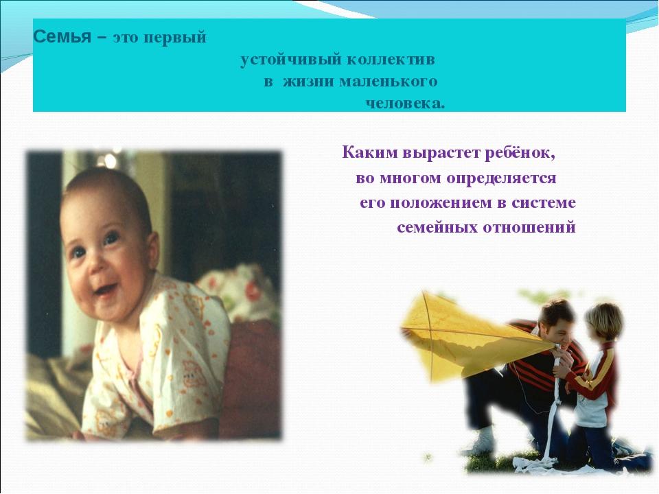 Семья – это первый устойчивый коллектив в жизни маленького человека. Каким вы...
