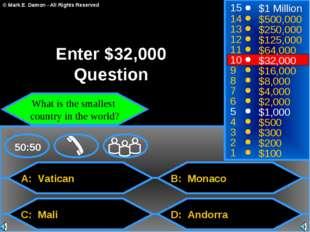 A: Vatican C: Mali B: Monaco D: Andorra 50:50 15 14 13 12 11 10 9 8 7 6 5 4 3