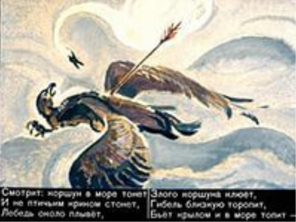 лебедь около плывет злого коршуна клюет из какой сказки