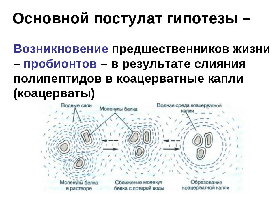Основной постулат гипотезы – Возникновение предшественников жизни – пробионт...