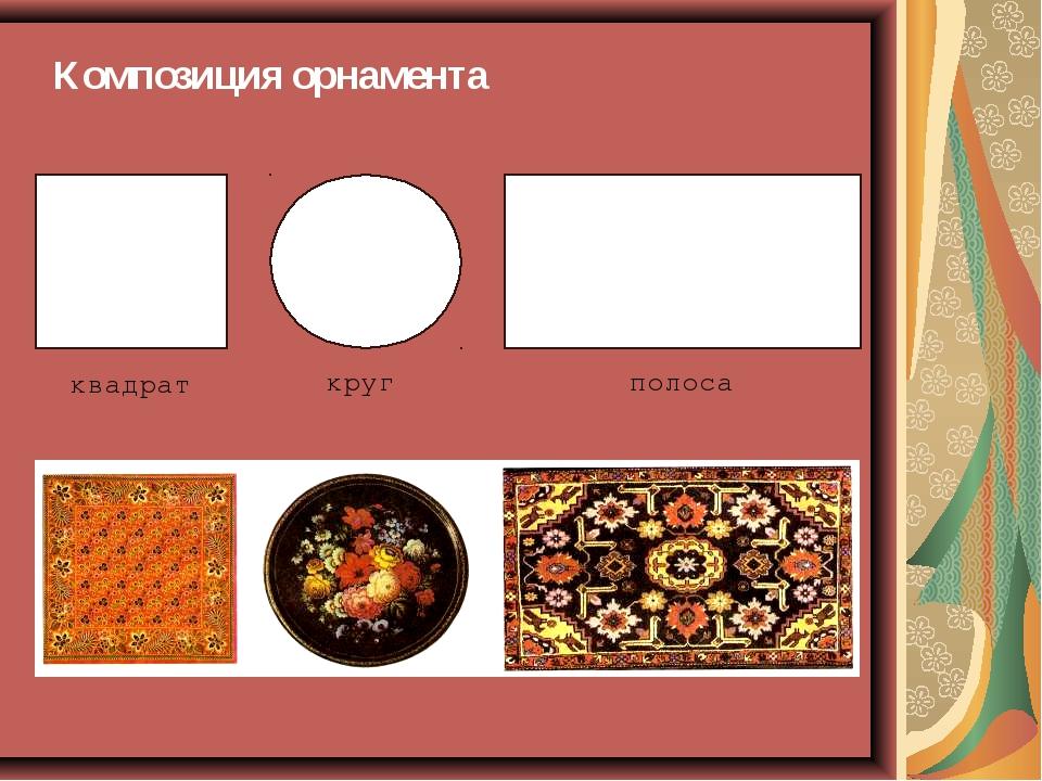 Композиция орнамента квадрат круг полоса