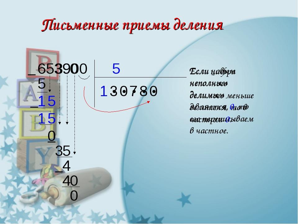 Письменные приемы деления 5 653900 1 ● ● ● ● ●  5 1 3  5 5 1 0 3 Если цифра...