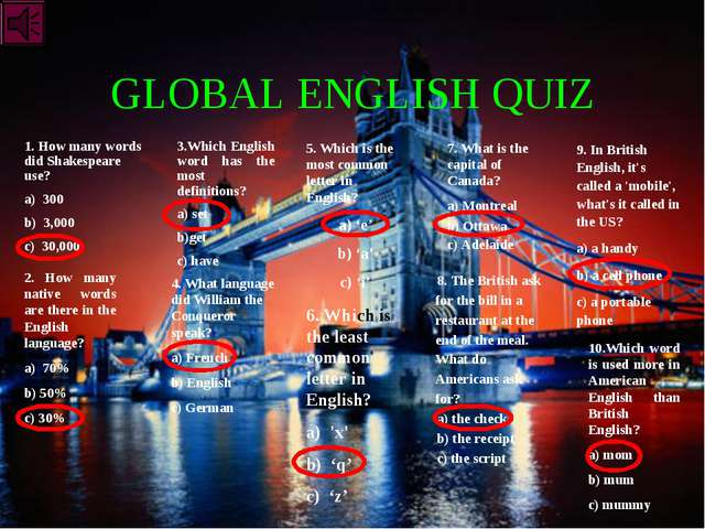 GLOBAL ENGLISH QUIZ 1. How many words did Shakespeare use? a) 300 b) 3,000 c)...