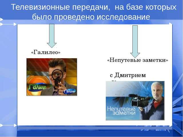 Телевизионные передачи, на базе которых было проведено исследование «Галилео...