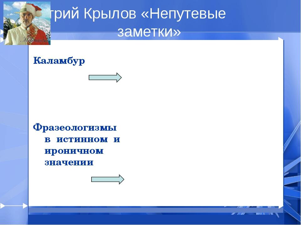 Дмитрий Крылов «Непутевые заметки» Каламбур Фразеологизмы в истинном и ирони...