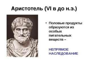 Аристотель (VI в до н.э.) Половые продукты образуются из особых питательных в