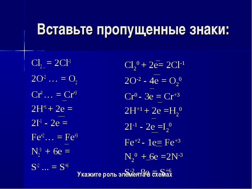 Вставьте пропущенные знаки: Cl2 ... = 2Cl-1 2O-2 … = O2 Cr0 … = Cr+3 2H+1 + 2...