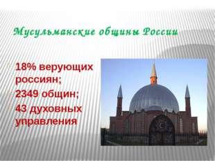 Мусульманские общины России 18% верующих россиян; 2349 общин; 43 духовных упр