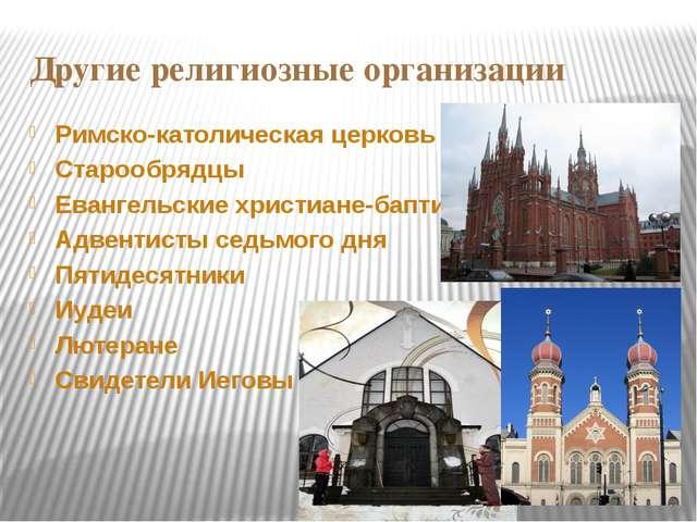 Другие религиозные организации Римско-католическая церковь Старообрядцы Еванг...