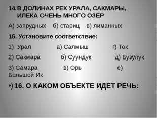 В ДОЛИНАХ РЕК УРАЛА, САКМАРЫ, ИЛЕКА ОЧЕНЬ МНОГО ОЗЕР А) запрудных б) стариц в