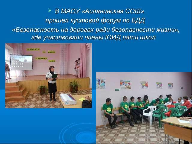 В МАОУ «Асланинская СОШ» прошел кустовой форум по БДД «Безопасность на дорога...