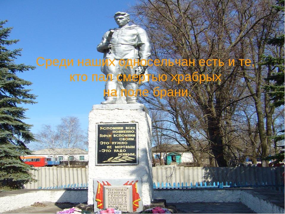 Среди наших односельчан есть и те, кто пал смертью храбрых на поле брани.