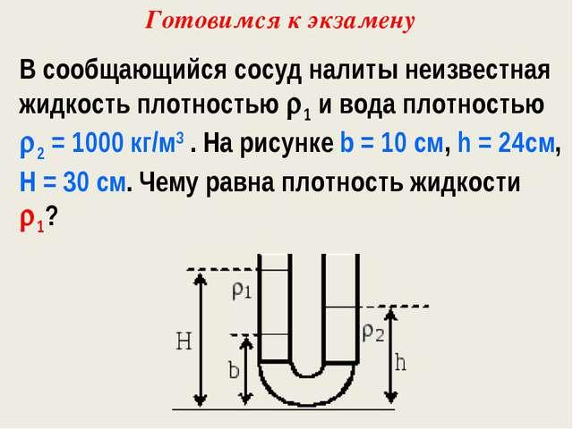 В сообщающийся сосуд налиты неизвестная жидкость плотностью 1 и вода плотнос...