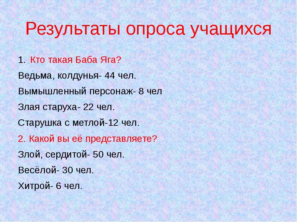 Результаты опроса учащихся Кто такая Баба Яга? Ведьма, колдунья- 44 чел. Вымы...