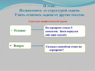 II этап. Познакомить со структурой задачи. Учить отличать задачи от других те
