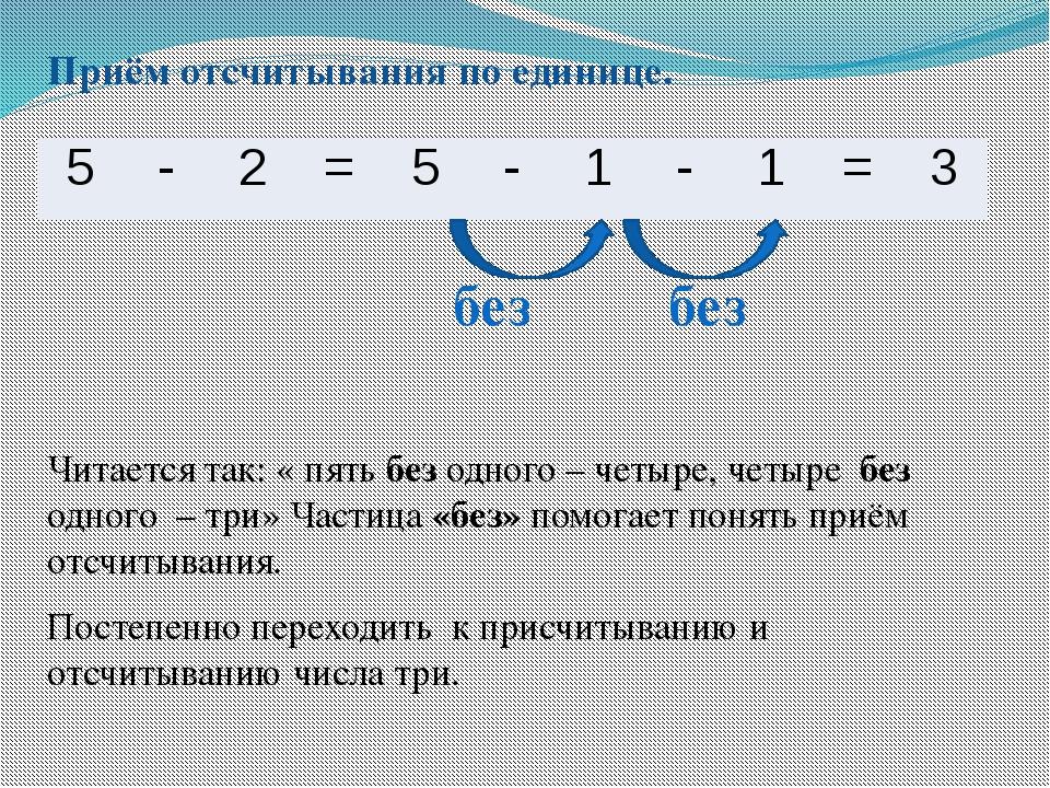 Приём отсчитывания по единице. Читается так: « пять без одного – четыре, четы...