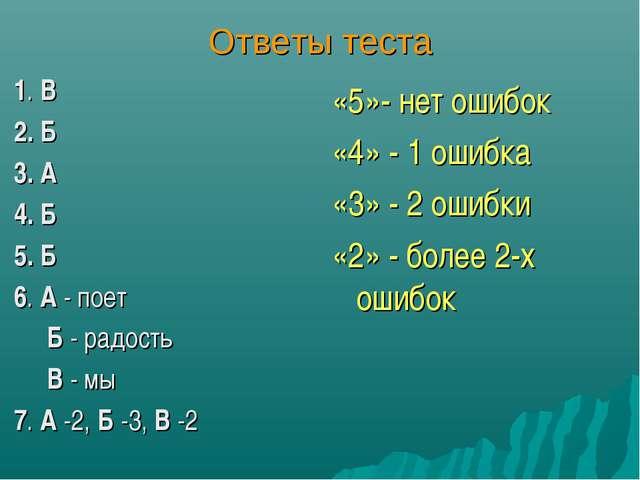 Ответы теста 1. В 2. Б 3. А 4. Б 5. Б 6. А - поет Б - радость В - мы 7. А -2,...