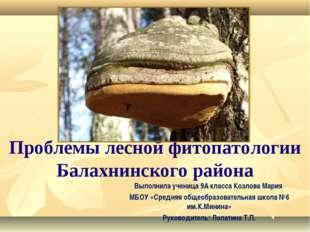 Проблемы лесной фитопатологии Балахнинского района Выполнила ученица 9А класс