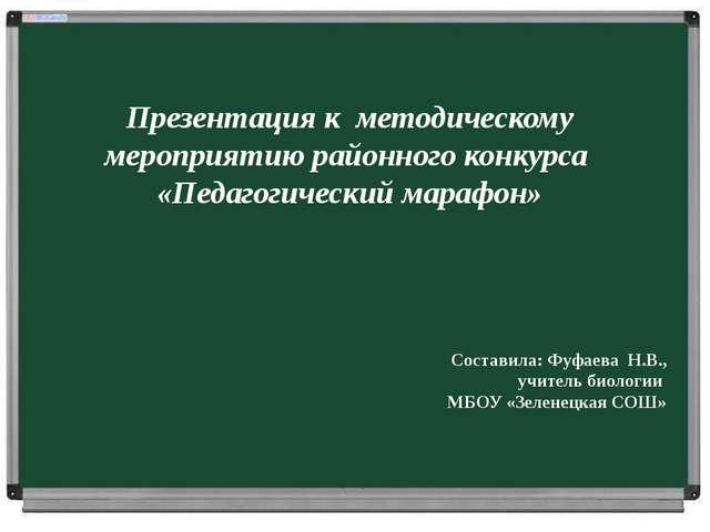 Презентация к методическому мероприятию районного конкурса «Педагогический м...