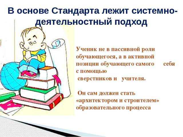 В основе Стандарта лежит системно-деятельностный подход Ученик не в пассивной...