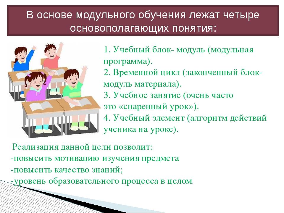 В основе модульного обучения лежат четыре основополагающих понятия: 1. Учебны...
