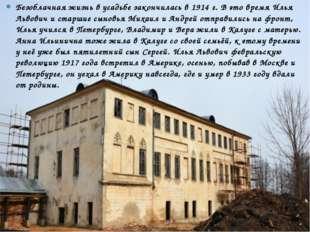 Безоблачная жизнь в усадьбе закончилась в1914 г. В это время Илья Львович и