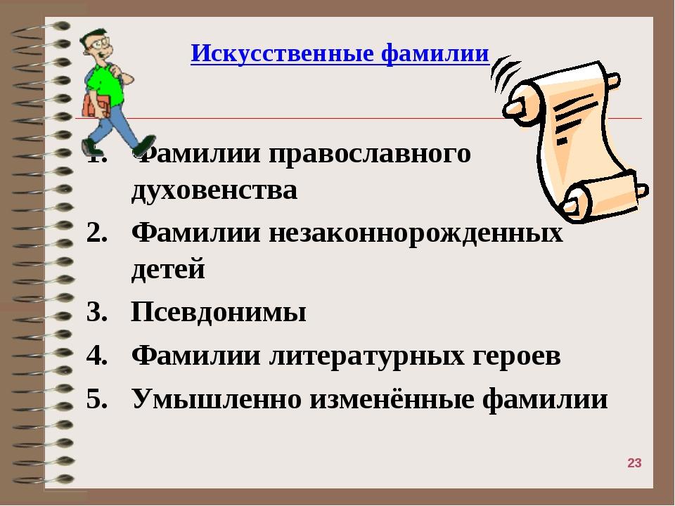 Искусственные фамилии Фамилии православного духовенства Фамилии незаконнорожд...