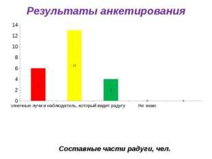 Результаты анкетирования Составные части радуги, чел.