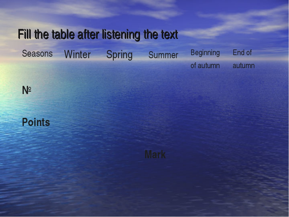Fill the table after listening the text 	 Seasons 	Winter 	Spring 	Summer 	Be...
