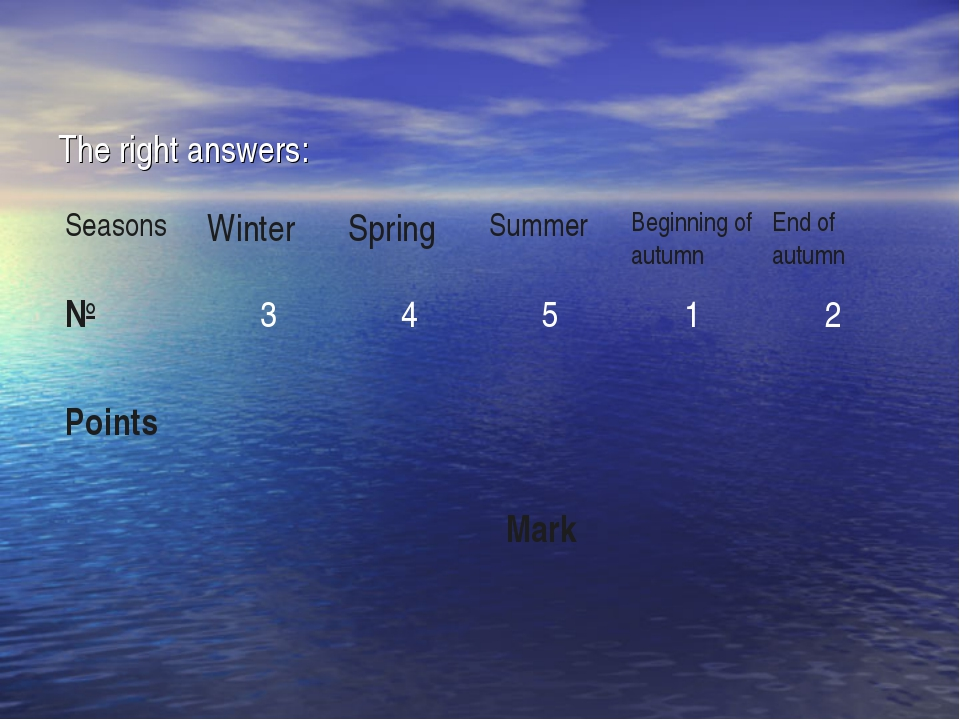 The right answers: Seasons	Winter	Spring	Summer	Beginning of autumn	End of au...