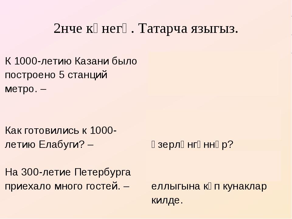 2нче күнегү. Татарча языгыз. К 1000-летию Казани было построено 5 станций мет...