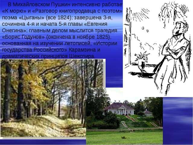 В Михайловском Пушкин интенсивно работает: «К морю» и «Разговор книгопродавц...