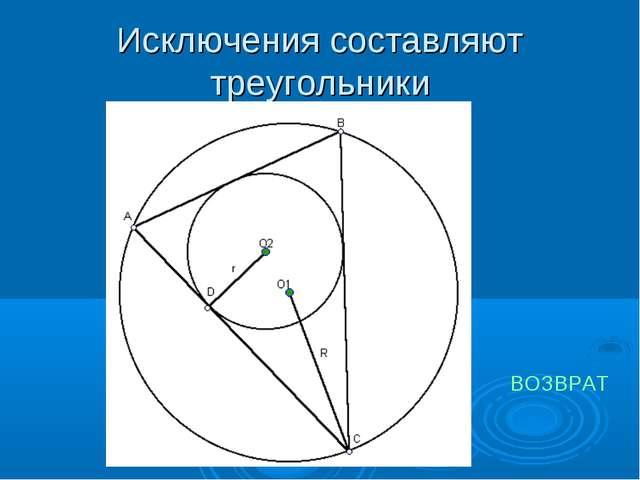 Исключения составляют треугольники ВОЗВРАТ