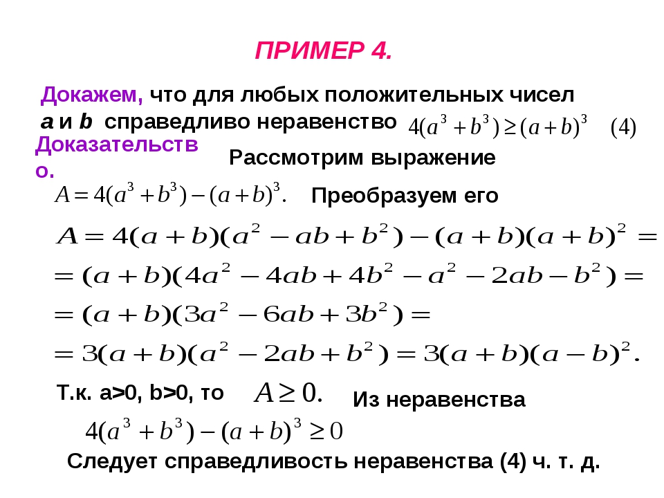 ПРИМЕР 4. Докажем, что для любых положительных чисел a и b справедливо нераве...