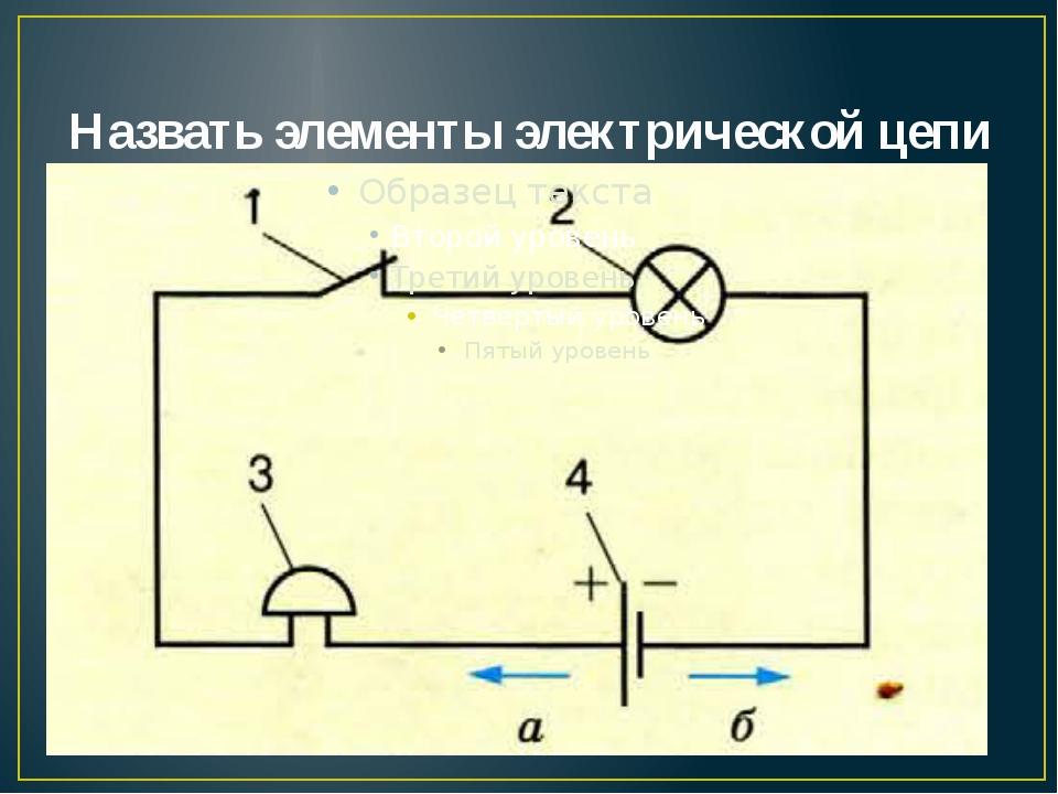 Назвать элементы электрической цепи