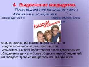 4. Выдвижение кандидатов. Право выдвижения кандидатов имеют: Избирательные об