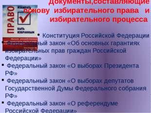 Документы,составляющие основу избирательного права и избирательного процесса