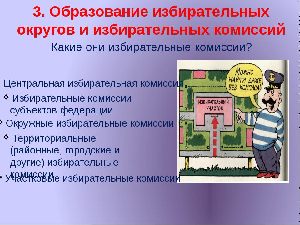 3. Образование избирательных округов и избирательных комиссий Какие они избир...