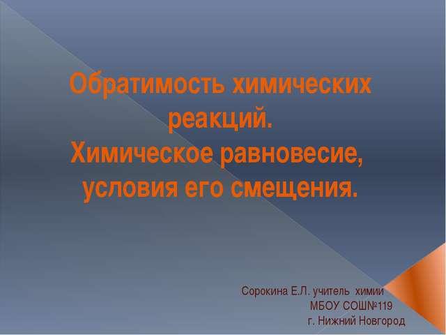 Сорокина Е.Л. учитель химии МБОУ СОШ№119 г. Нижний Новгород Обратимость хими...