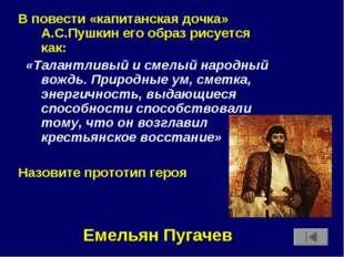 В повести «капитанская дочка» А.С.Пушкин его образ рисуется как: «Талантливый