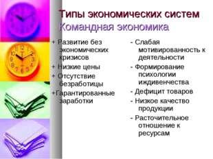Типы экономических систем Командная экономика + Развитие без экономических кр