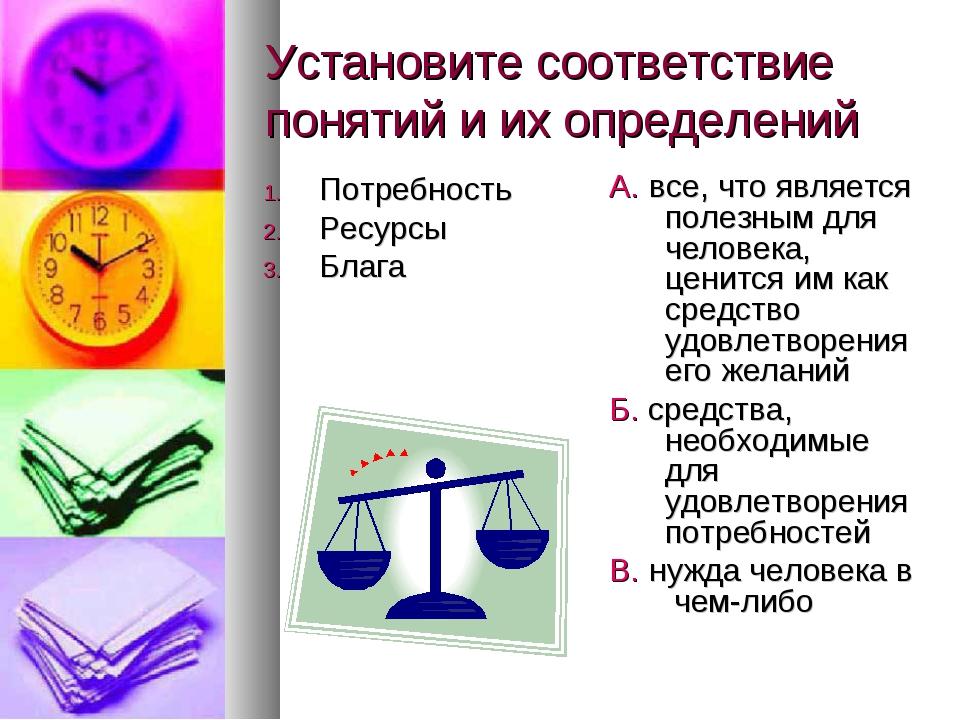 Установите соответствие понятий и их определений Потребность Ресурсы Блага А....