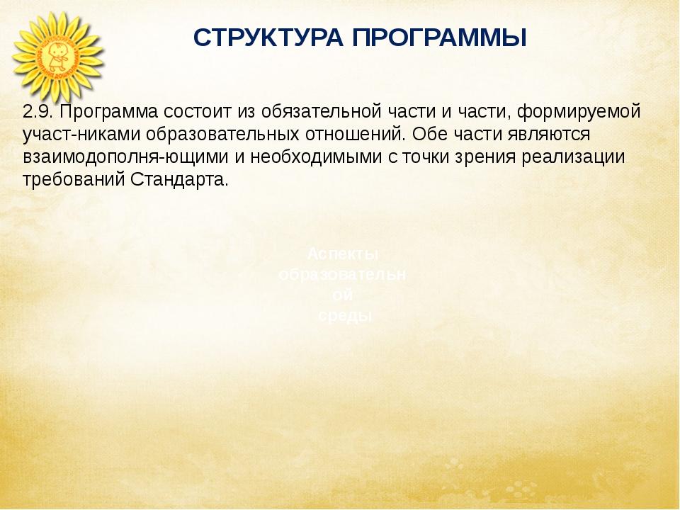 СТРУКТУРА ПРОГРАММЫ Аспекты образовательной среды 2.9. Программа состоит из...