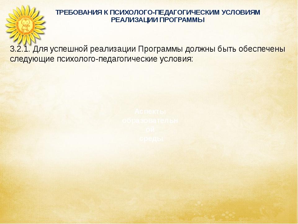 ТРЕБОВАНИЯ К ПСИХОЛОГО-ПЕДАГОГИЧЕСКИМ УСЛОВИЯМ РЕАЛИЗАЦИИ ПРОГРАММЫ Аспекты...
