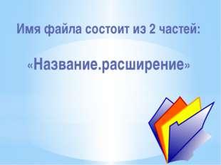 Имя файла состоит из 2 частей: «Название.расширение»