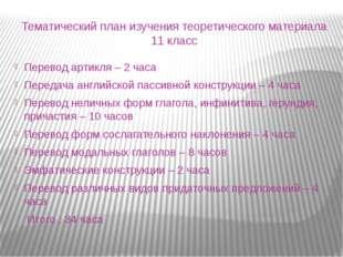 Тематический план изучения теоретического материала 11 класс Перевод артикля