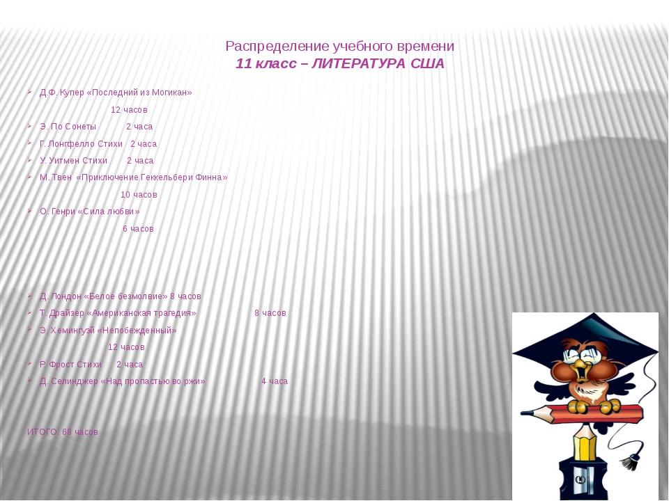 Распределение учебного времени 11 класс – ЛИТЕРАТУРА США Д.Ф. Купер «Последни...